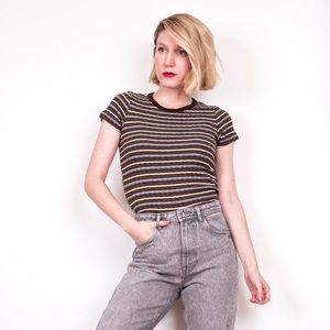 Vintage 90s striped tiny fit skater tee tshirt